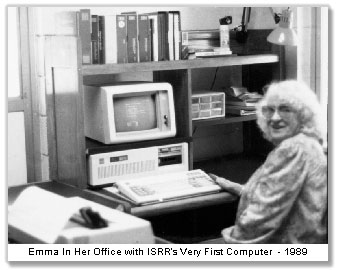 Emma in her Office with ISRR's First Computer 1989